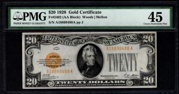 1928 $20 Gold Certificate PMG 45 Fr.2402 Item #2509834-009