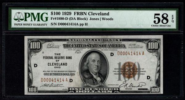 1929 $100 Cleveland FRBN PMG 58 EPQ Fr.1890-D Item #2510279-002