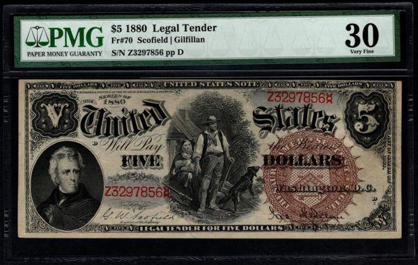 1880 $5 Legal Tender Woodchopper Note PMG 30 Fr.70 Series Key Note Item #5014005-003