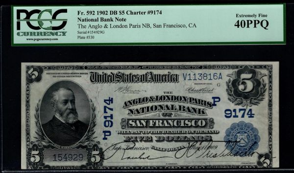 1902 $5 Anglo & London Paris National Bank of San Francisco California PCGS 40 PPQ Fr.592 Charter CH#9174 Item #80291353