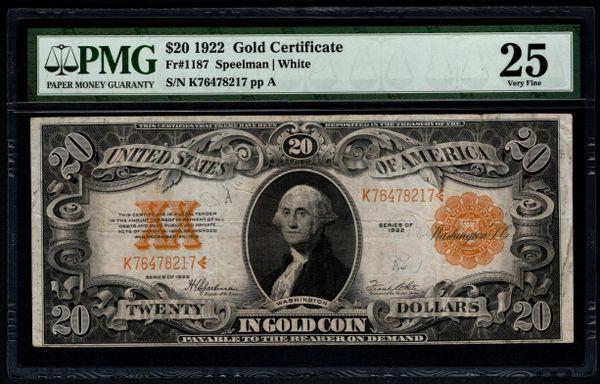 1922 $20 Gold Certificate PMG 25 Fr.1187 Item #5013848-030