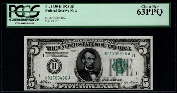 1928 $5 Dallas FRN PCGS 63 PPQ Fr.1950-K Item #80481978