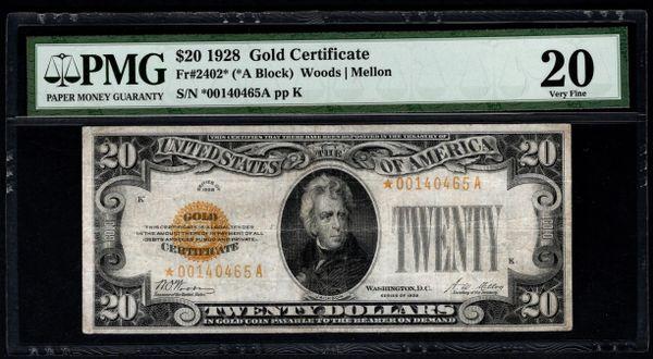1928 $20 Star Gold Certificate PMG 20 Fr.2402* Item #8050632-001