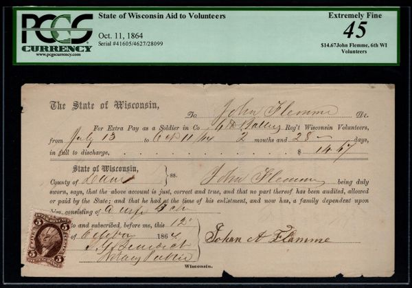 1864 Civil War Union Pay Form 6th Wisconsin Volunteers PCGS 45 with Internal Revenue Stamp Item #59112058