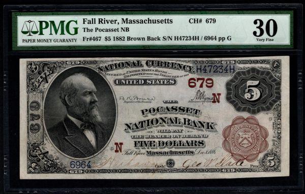 1882 $5 The Pocasset National Bank Fall River Massachusetts PMG 30 Fr.467 Charter CH#679 Item #1819585-005