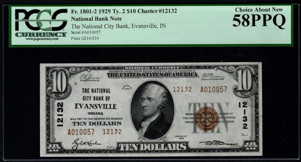 1929 $10 National City Bank of Evansville Indiana PCGS 58 PPQ Fr.1801-2 Charter CH#12132 Item #80809129
