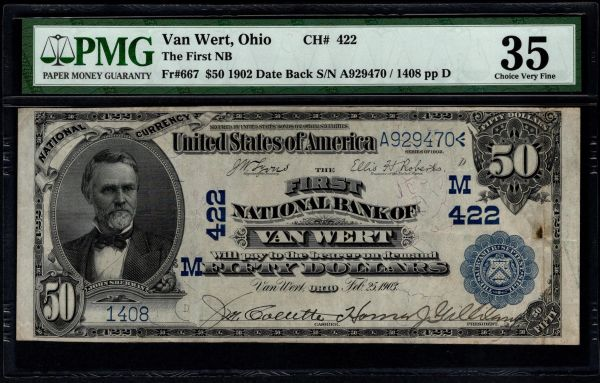 1902 $50 The First National Bank of Van Wert Ohio PMG 35 Fr.667 Charter CH#422 Item #5014082-015