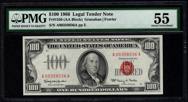 1966 $100 Legal Tender PMG 55 Fr.1550 United States Note Item #5013306-015