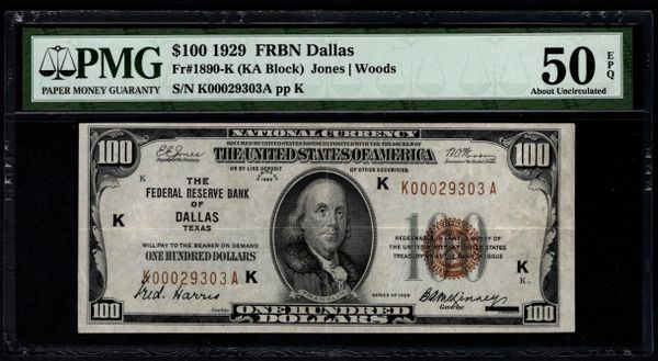 1929 $100 Dallas FRBN PMG 50 EPQ Fr.1890-K Series Key Note Item #8070166-004