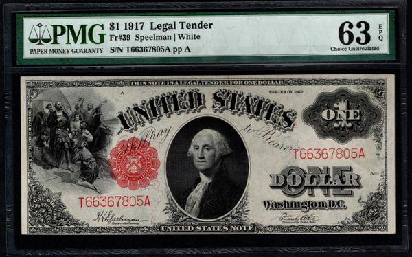 1917 $1 Legal Tender PMG 63 EPQ Fr.39 Item #5004868-013
