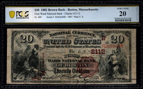 1882 $20 First Ward National Bank of Boston Massachusetts PMG 20 Fr.499 Charter CH#2112 Item #39211243