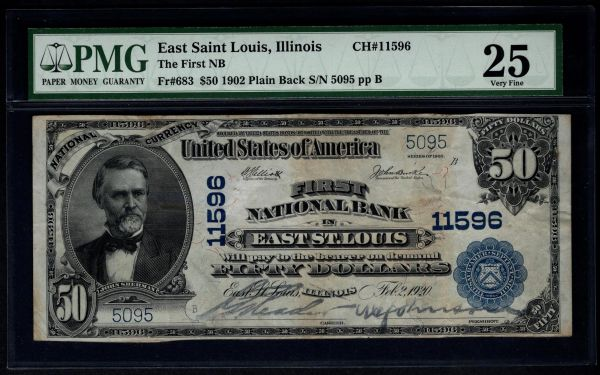 1902 $50 The First National Bank of East St. Louis Illinois PMG 25 Fr.683 Charter CH#11596 Item #1185028-001