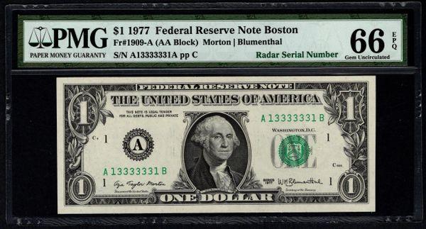 1977 $1 Boston FRN PMG 66 EPQ Fr.1909-A Super Radar Binary Serial Number 13333331 Item #8039355-003