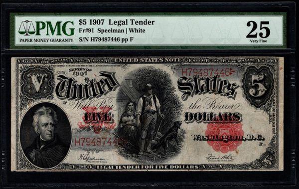 1907 $5 Legal Tender Woodchopper Note PMG 25 Fr.91 Item #5014209-012