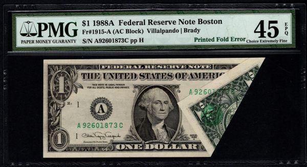 1988A $1 ERROR Printed Fold PMG 45 EPQ Fr.1915-A Item #5004509-013