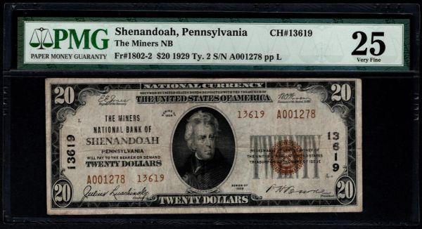 1929 $20 Miners National Bank of Shenandoah Pennsylvania PMG 25 Fr.1802-2 Charter CH#13619 Item #1744030-059