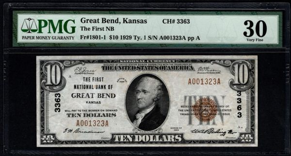1929 $10 The First National Bank of Great Bend Kansas PMG 30 Fr.1801-1 Charter CH#3363 Item #1859904-024