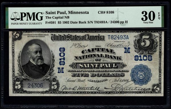 1902 $5 The Capital National Bank of Saint Paul Minnesota PMG 30 EPQ Fr.591 Charter CH#8108 Item #1514692-005