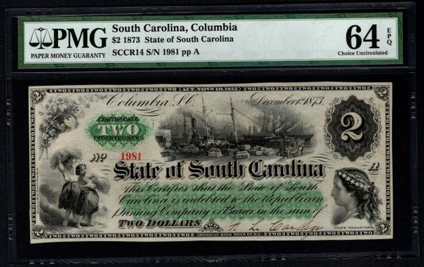 1873 $2 Columbia State of South Carolina PMG 64 EPQ Item #8062494-030