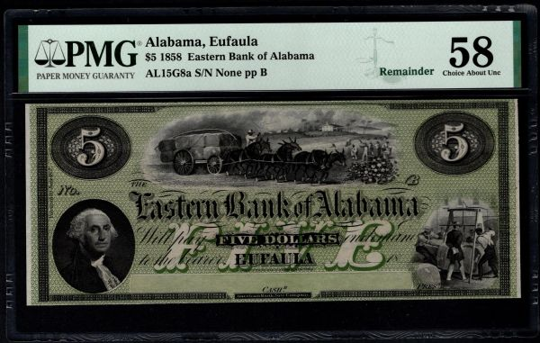 1858 $5 Eufaula Eastern Bank of Alabama PMG 58 Item #8071865-004
