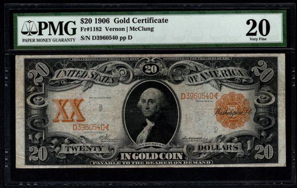 1906 $20 Gold Certificate PMG 20 Fr.1182 Item #5004922-009