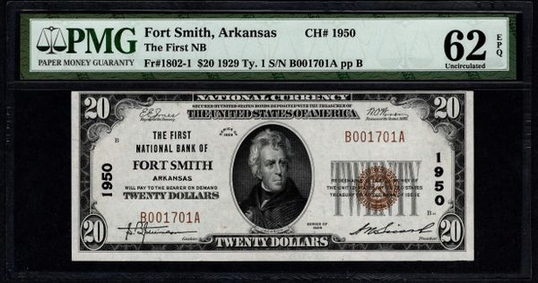 1929 $20 The First National Bank of Fort Smith Arkansas PMG 62 EPQ Fr.1802-1 Charter CH#1950 Item #2510563-034