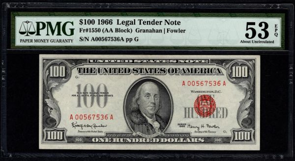 1966 $100 Legal Tender PMG 53 EPQ Fr.1550 United States Note Item #5014590-001
