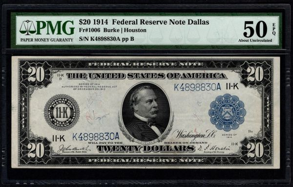 1914 $20 Dallas FRN PMG 50 EPQ Fr.1006 Item #5014390-001
