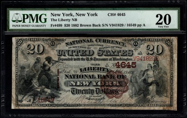 1882 $20 The Liberty National Bank of New York PMG 20 Fr.499 Charter CH#4645 Item #5004551-015