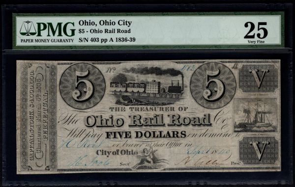 1836-1839 $5 Ohio Rail Road PMG 25 Item #1527857-022