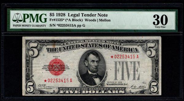 1928 $5 Star Legal Tender Note PMG 30 Fr.1525* Item #5014269-010