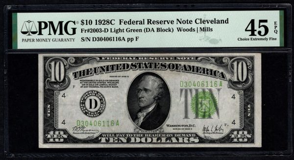 1928C $10 Cleveland FRN PMG 45 EPQ Fr.2003-D Series Key Note LGS Light Green Seal Item #8071865-006