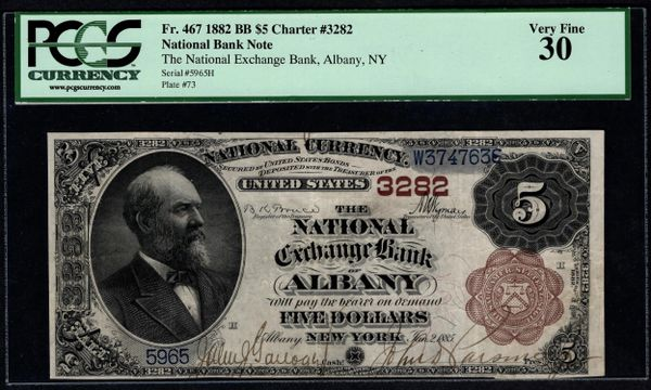 1882 $5 The National Exchange Bank of Albany New York PCGS 30 Fr.467 Charter CH#3282 Item #80424358