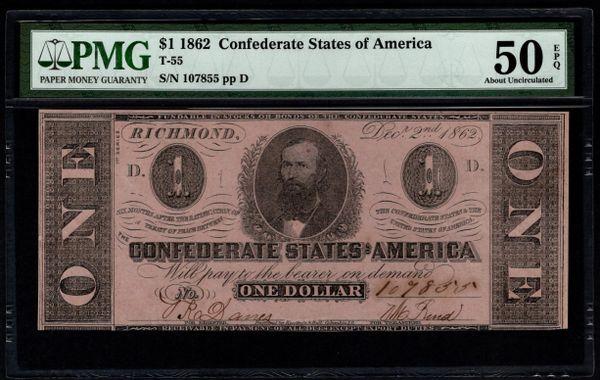 1862 $1 T-55 Confederate Currency PMG 50 EPQ Civil War Note Item #5014332-056