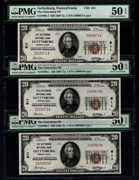 Lot of Three Consecutive 1929 $20 Gettysburg Pennsylvania PMG 50 EPQ Fr.1802-1 Charter CH#611 Item #1855181-001/002/003