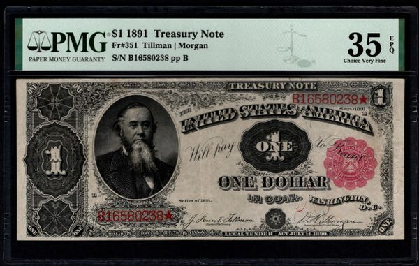 1891 $1 Treasury Stanton Note PMG 35 EPQ Fr.351 Item #5014765-013