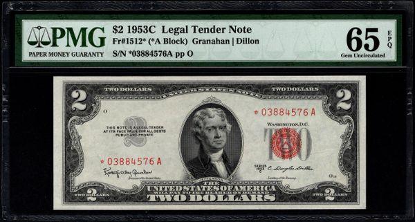 1953C $2 STAR Legal Tender Note PMG 65 EPQ Fr.1512* Item #5014651-063