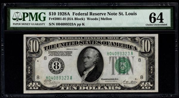 1928A $10 St. Louis FRN PMG 64 Numerical 8 District Item #5014649-051