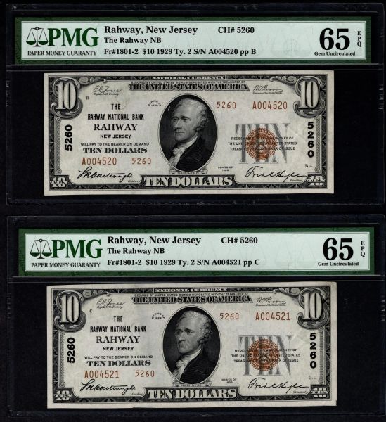 Lot of Two Consecutive 1929 $20 Rahway National Bank New Jersey PMG 65 EPQ Fr.1801-2 Charter CH#5260 Item #5014258-001/002