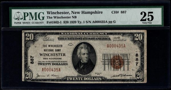 1929 $20 The Winchester National Bank New Hampshire PMG 25 Fr.1802-1 Charter CH#887 Item #1135035-015