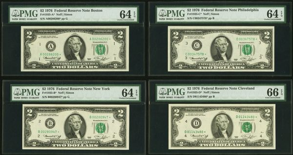 Complete District Set of Twelve 1976 $2 STAR Notes PMG 64,65,66 EPQ Fr.1935-A*-Fr.1935-L* Item #1078027-001/012