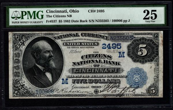 1882 $5 The Citizens National Bank of Cincinnati Ohio PMG 25 Fr.537 Charter CH#24 Item #5004969-002