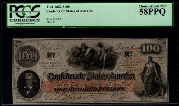 1862 $100 T-41 Confederate Currency PCGS 58 PPQ Civil War Note Item #80566500