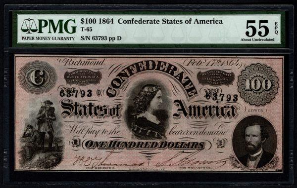 1864 $100 T-65 Confederate Currency PMG 55 EPQ Civil War Note Item #5014333-085