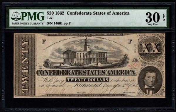 1862 $20 T-51 Confederate Currency PMG 30 EPQ Civil War Note Item #5014332-027