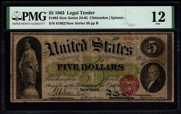 1862 $5 Legal Tender PMG 12 Fr.63 United States Note Item #8071865-011