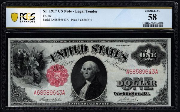 1917 $1 Legal Tender PCGS 58 Fr.36 United States Note Item #39145378