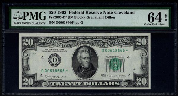 1963 $20 STAR Cleveland FRN PMG 64 EPQ Fr.2065-D* Item #1514762-015