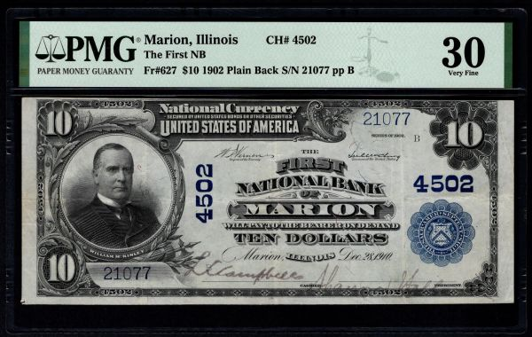 1902 $10 The First National Bank of Marion Illinois PMG 30 Fr.627 Charter CH#4502 Item #5014938-010