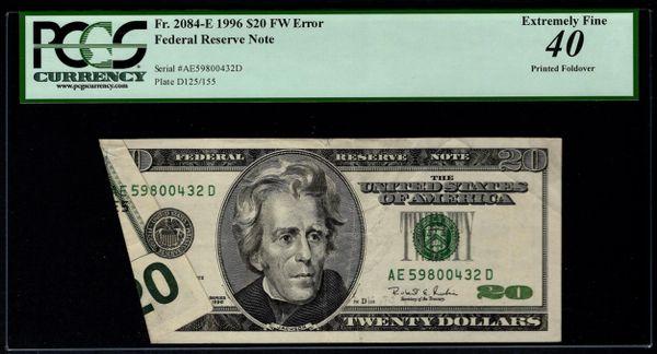 1996 $20 ERROR Printed Foldover PCGS 40 Fr.2084-E Item #59110836